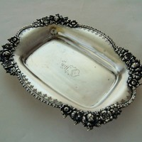 Towle Sterling Silver Antique Vanity Tray Roses & Coat of Arms
