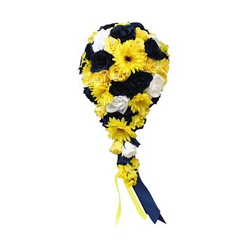 Teardrop Cascade Bouquet - Navy Blue and Yellow Artificial Handcrafted Rose and Daisy MADE IN USA