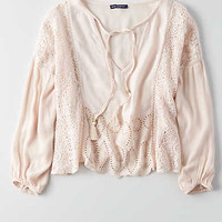 AEO Cropped Long Sleeve Top , Blush