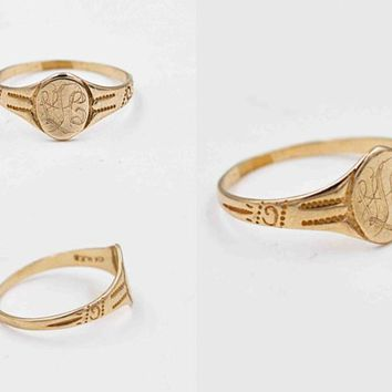 Antique Edwardian 10K Yellow Gold Signet Ring, H.F. Barrows & Co., Milgrain, Oval, Engraved, Size 4, Midi, Pinky, Lovely! #c488