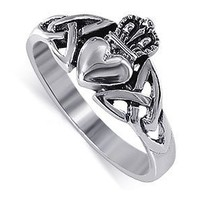 LWRS043-6 925 Sterling Silver Irish Claddagh Friendship and Love Ring
