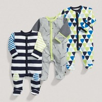 Boys Essentials Three Pack Of Blue Printed One Pieces
