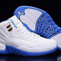 DCCK Air Jordan 12 French Blue/White jordans for men shoes