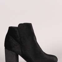 Bamboo Crushed Velvet Chunky Heeled Ankle Boots