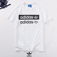 Adidas New fashion letter leaf print couple top t-shirt White
