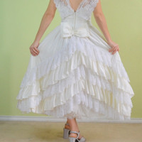 Vintage 80s 50s style Alfred Angelo short Wedding Dress prom formal tiered lace Victorian Steampunk lolita