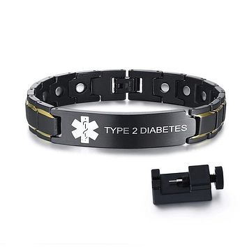 Medical Alert ID Bracelets TYPE 2 DIABETES Mens Bracelets Black Stainless Steel with Magnets Pain Relief Energy Emergency Reminder Personalized Jewelry FREE SHIPPING