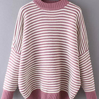 Red White Striped Knit Long Sleeve Sweater