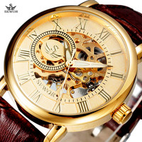 SEWOR Luxury Leather Skeleton Watch