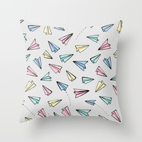 Paper Planes in Pastel Throw Pillow by Tangerine-Tane