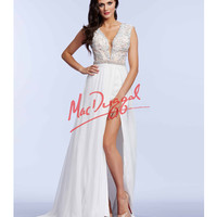 Elegant Crystal Beaded Ivory Gown