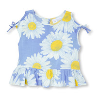 Toddler Girls Sleeveless Daisy Printed Cold-Shoulder Top | The Children's Place