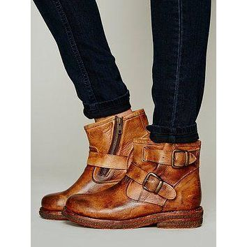 Women's Belt Zip Ankle Motorbike Boots