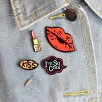 Trendy 4pcs/set I'm so cool Lipstick Sexy Red Lips KISS Metal Brooch Pins Collar Button Pin Denim Jacket Lapel Pin Badge Gift Jewelry AT_94_13
