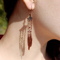Natural ash-tree seeds dangling long copper earrings / Oriental style copper plated eco elongated earrings / Boho Hippie Romantic