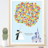 Wedding Guest Book Alternative for Disney Wedding with Couple holding balloons and castle, unique wedding guest book idea