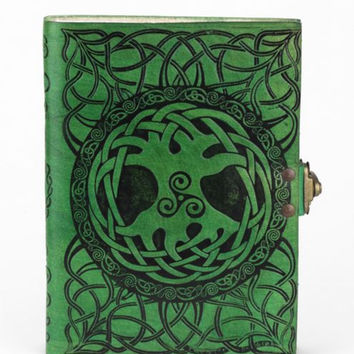 5 x 7 Green Leather Journal Sacred Tree Symbol Design 272 Blank Pages with Latch