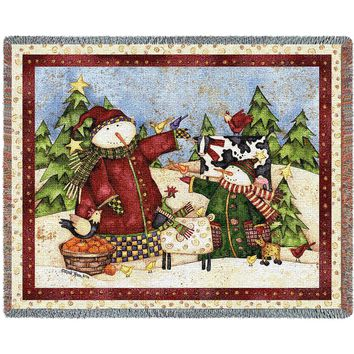 MAGIC SNOWMEN CHRISTMAS AFGHAN THROW BLANKET