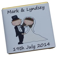 150 Personalised Chocolate Wedding Favours - Cute Couple 2
