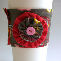 Elephants Coffee Cup Cozy / Indian Inspired Drink Sleeve