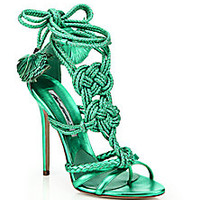 Brian Atwood - Yuna Knotted Braided Leather Ankle-Tie Sandals - Saks Fifth Avenue Mobile
