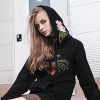 """Gucci"" Women Fashion Casual Tiger Head Flower Embroidery Letter Pattern Print Long Sleeve Zip Cardigan Hooded Sweater Coat H-AGG-CZDL"