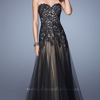 Strapless Sweetheart La Femme Dress with Lace Bodice