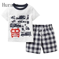 Infant clothes toddler children summer baby boys clothing sets fashion cartoon 2pcs car clothes sets boys summer set