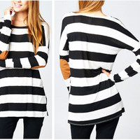 Black and White Striped Suede Elbow Long Sleeve T-Shirt