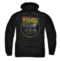 Back To The Future Men's  Back Hooded Sweatshirt Black Rockabilia