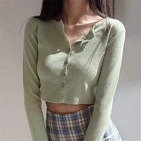 Korean Style O-neck Short Knitted Sweaters Women Thin Cardigan Fashion  Sleeve Sun Protection Crop Top Ropa Mujer