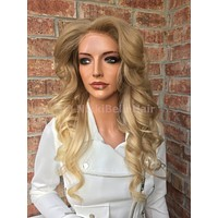 """Natural Pale Blond Multi Parting Human Hair Full Lace Wig 18"""""""