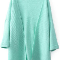 Green Long Sleeve Loose Fitting Knitted Cardigan