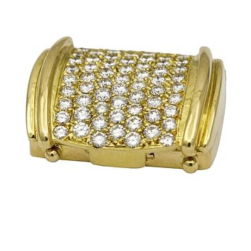 Pave Diamond Small Pill Box in 18k Yellow Gold ( 3.00 ct tw ) Signed Rene