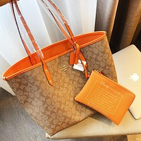COACH Classic Woman Shopping Bag Leather Handbag Tote Crossbody Satchel Wallet Two Piece Set Orange