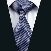 New Men`s Tie 100% Silk Plaid Jacquard Woven Necktie For Men Formal Wedding Party Business