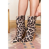Move Fast Faux Leather Leopard Booties (Snow Leopard)