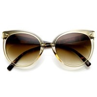 Womens Oversized Butterfly Two-Tone Cat Eye Sunglasses