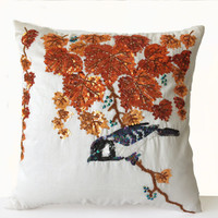 Ivory Silk Pillow Cover -Decorative Pillow - Colorful Pillow Orange Leaves Black Bird Pillow -16x16 -Gift -Home Decor -Bedding -Wedding Gift