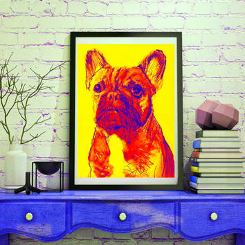 Blue red yellow French Bulldog Giclee Poster Print artist signed colorful modern art French Bulldog gift idea