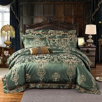 Cool 4/6pcs New Design Luxury Silk Cotton Jacquard Bedding Set Hollow Duvet cover set Bedsheet Pillowcase bed linen Queen King sizeAT_93_12