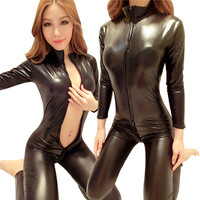 Woman Black Sexy Bodysuit Costume Fantasias Sexy Latex Catsuit With Zipper To Crotch Long Sleeve Pvc Leather Erotic Lingerie