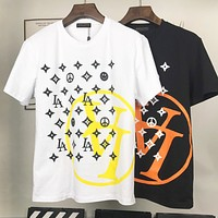LV New fashion monogram print couple top t-shirt