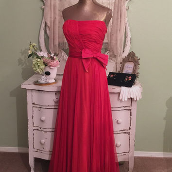 40s 50s Dress |  Persimmon Chiffon Dress | Long Evening Gown | Red Carpet Dress | Special Occasion | Hollywood Glam | Long Vintage Dress | S