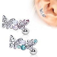 316L Stainless Steel Art of Brilliance Branched Butterfly Cartilage Earring