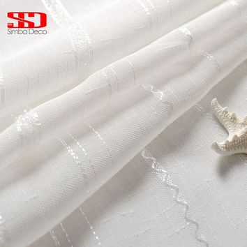 White Voile Window Tulle Curtains For Living Room Silk Thread Striped Linen Sheer Curtain For Bedroom Custom Size Panel Kitchen