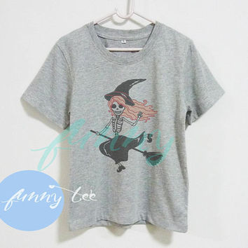 Skull witch riding broom witch tshirt Crew neck sweatshirt Short sleeve t shirt+off white or grey toddlers shirt