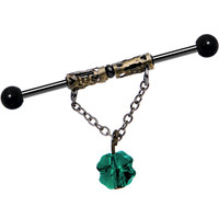 Handcrafted Clover Industrial Barbell MADE WITH SWAROVSKI CRYSTALS | Body Candy Body Jewelry