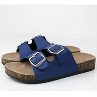Back To Cool Blue Two Strap Buckle Cork Sandals