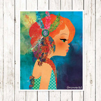 Boho Girl Art print Wall Art Print Hippie Redhead Girl Decor Girl's Room Wall Art Teens Art  Illustrations for Teens Room Decor for girls